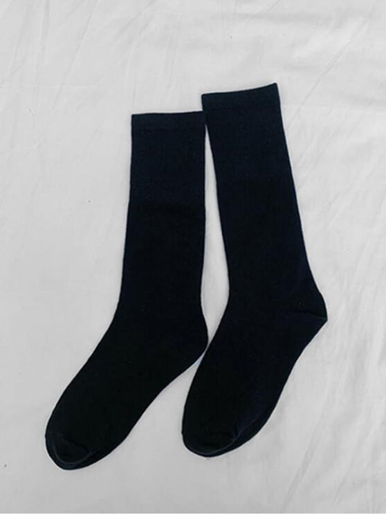 Chaussettes Mi-Mollet Jointives en Couleur Unie - Noir