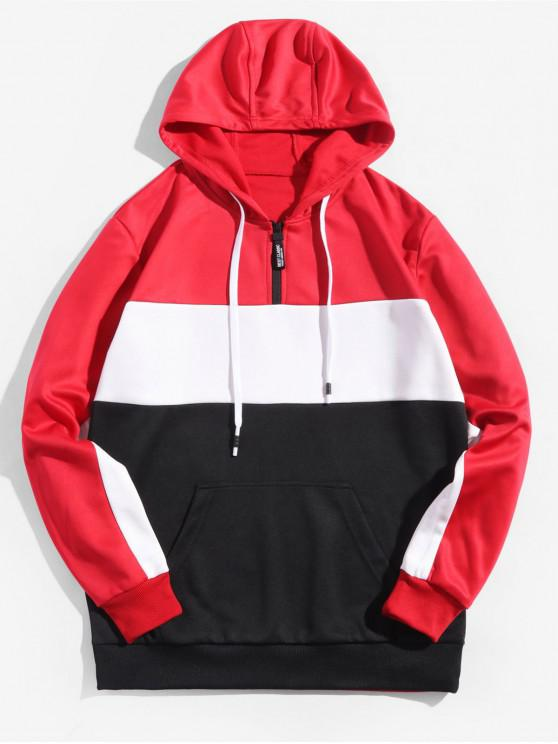 women's Colorblock Splicing Half Zipper Pullover Hoodie - RED XL