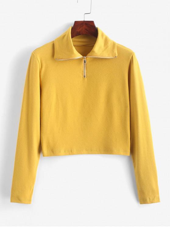 Camiseta Recortada Cuello Redondo y Cremallera - Amarillo L