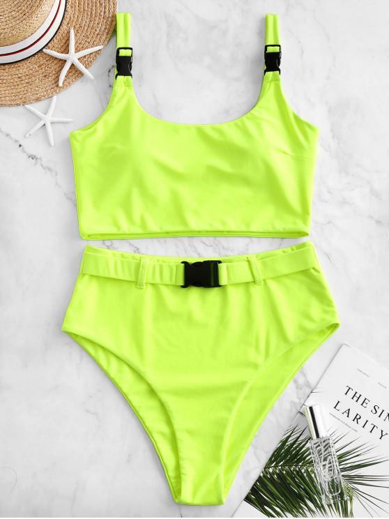 lady ZAFUL Push Buckle High Waisted Padded Tankini Swimsuit - CHARTREUSE M