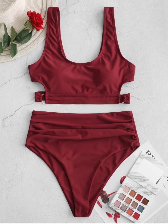 trendy ZAFUL D-ring Cutout Ruched Tankini Swimsuit - FIREBRICK L