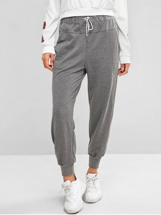 Pantalon de Jogging de Gym à Cordon avec Poche - Gris L