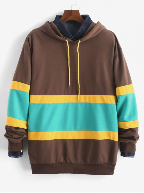 latest Color Spliced Casual Style Hoodie - COFFEE XL