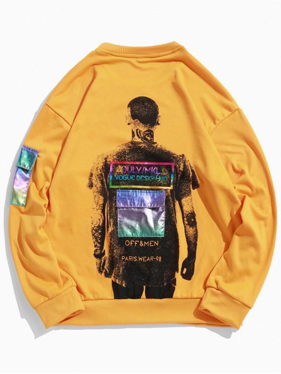 fancy Character Men Paint Flap Pocket Round Neck Sweatshirt - RUBBER DUCKY YELLOW 2XL