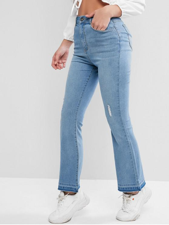 women ZAFUL Ripped Frayed Hem Bootcut Jeans - JEANS BLUE M