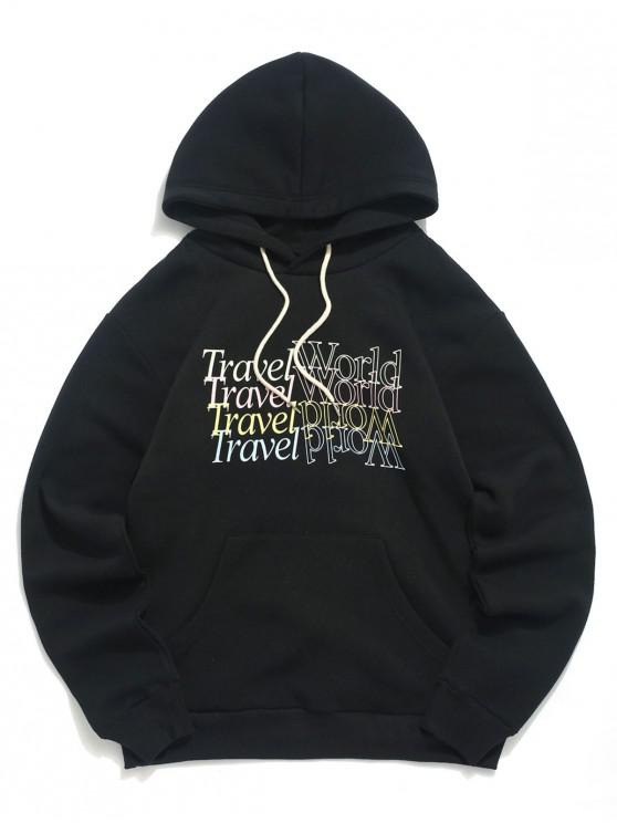 womens Letter Print Pocket Decorated Casual Hoodie - BLACK 2XL