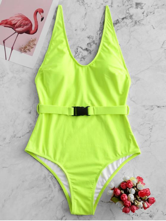 lady ZAFUL Push Buckle Plunging Backless One-piece Swimsuit - GREEN YELLOW S