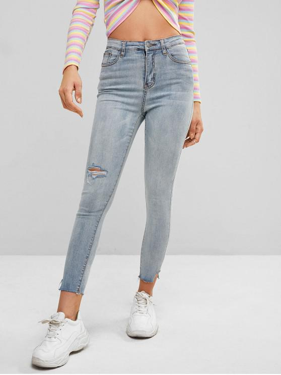 chic Ripped Light Wash Skinny Jeans - BLUE L