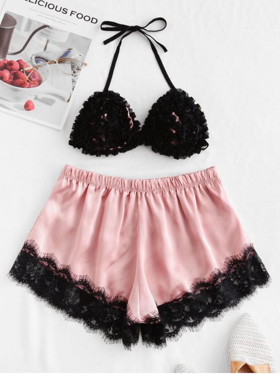 shop Ruffle Lace Insert Satin Pajama Shorts Set - PINK S