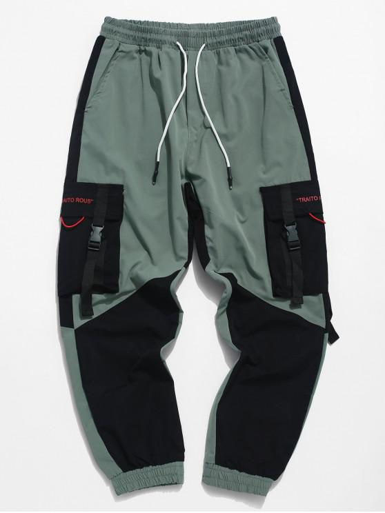 Pantalon de Jogging Lettre Imprimée en Blocs de Couleurs Jointif avec Ruban - Noir M