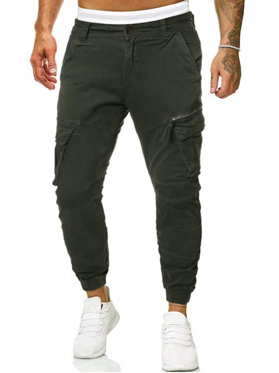 ladies Solid Side Flap Pocket Cargo Jogger Pants - ARMY GREEN 36