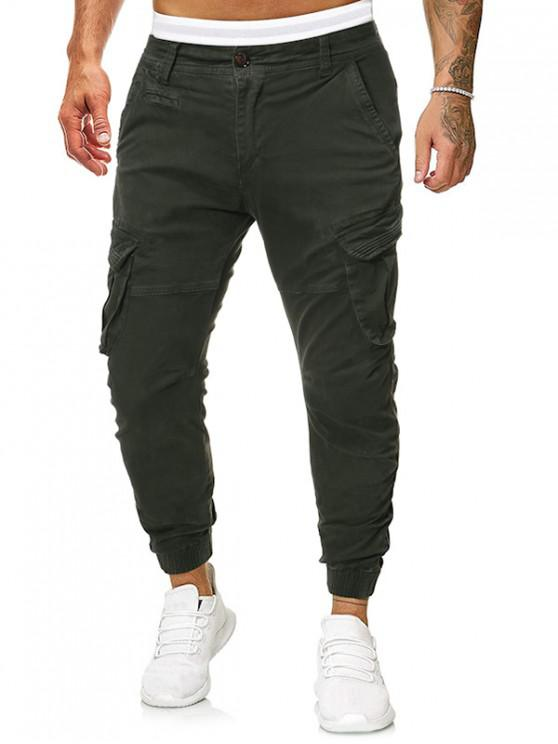 best Solid Multi Flap Pocket Long Cargo Jogger Pants - ARMY GREEN 36