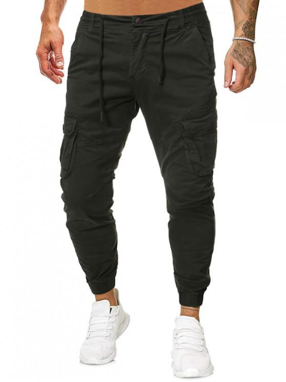 outfits Solid Drawstring Zipper Fly Casual Jogger Pants - ARMY GREEN 38
