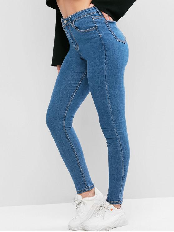 Pantalones Vaqueros Flacos con Bolsillos de Color Sólido - Azul de Jeans  M