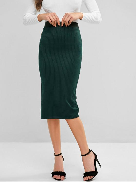 ladies Knitted Buttoned Slit Midi Skirt - GREENISH BLUE S