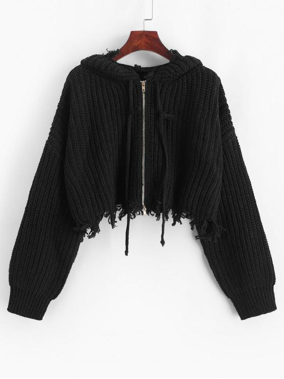 best ZAFUL Hooded Zip Up Distressed Cropped Cardigan - BLACK S
