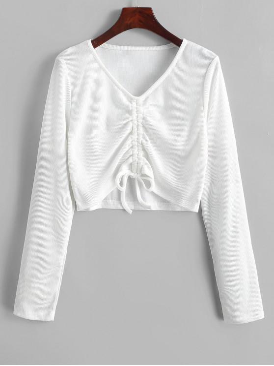 online Cinched V Neck Crop Knitwear - WHITE XL