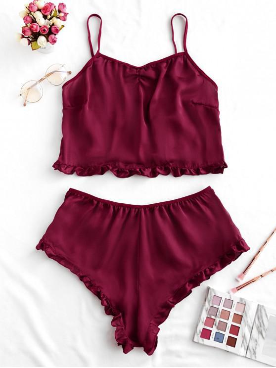 best Ruffle Trim Solid Pajama Set - RED WINE L