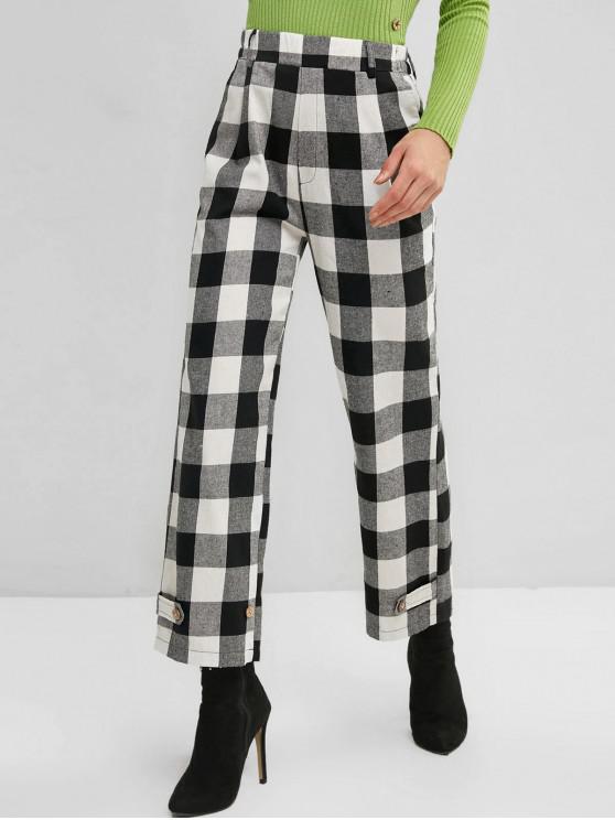High Rise tela escocesa de bolsillo pantalones rectos - Multicolor M