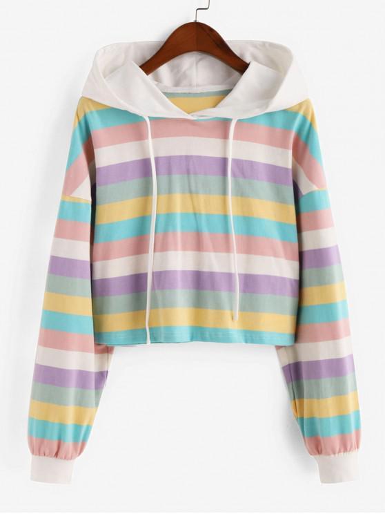 Raya del arco iris recortada con capucha - Multicolor XL