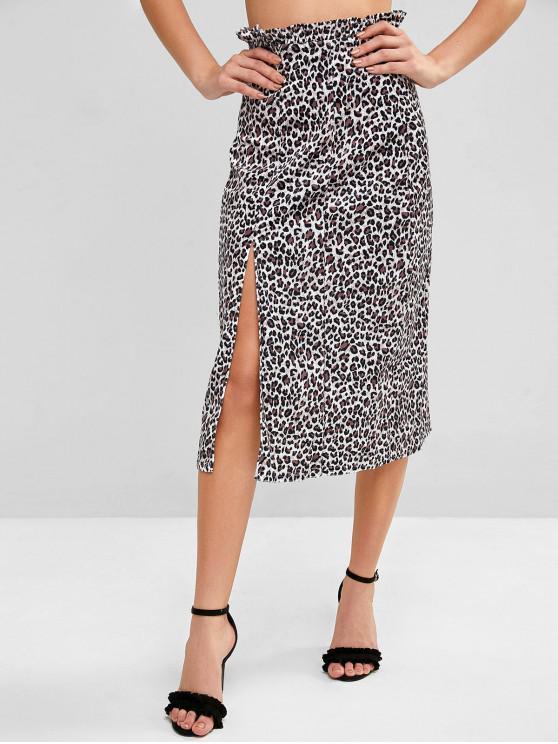 Leopardo hendidura lateral de la falda de terciopelo - Multicolor-A XL