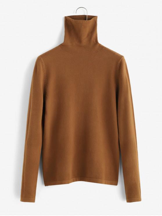 hot ZAFUL Slimming Plain Pullover Sweater - CINNAMON M