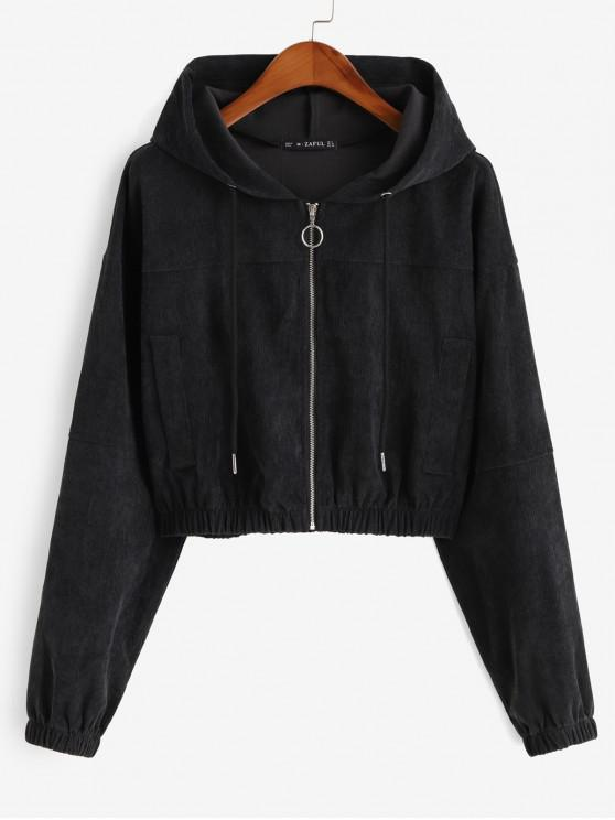 unique Faux Pockets Corduroy Crop Hooded Jacket - BLACK M