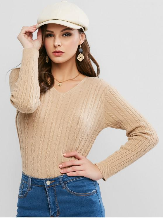 outfit V Neck Cable Knit Jumper Sweater - TAN ONE SIZE