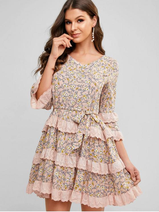 chic Ditsy Print Broderie Anglaise Ruffle Smock Dress - CHAMPAGNE L