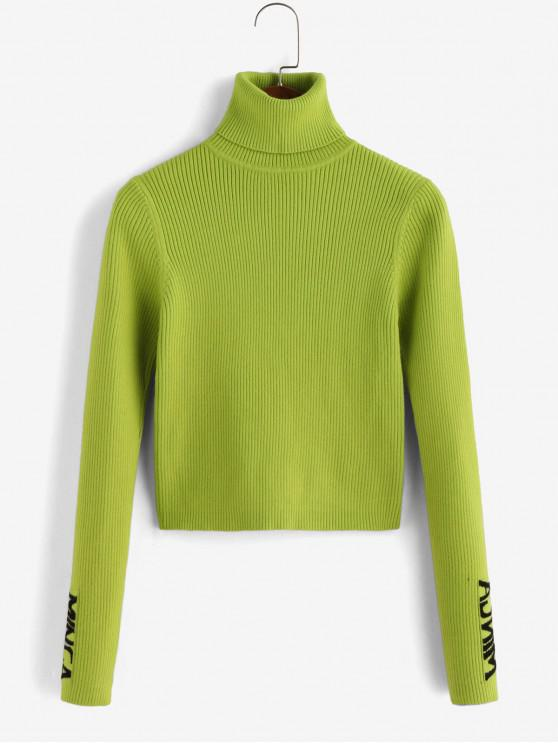 sale Ribbed Graphic Turtleneck Sweater - TEA GREEN S