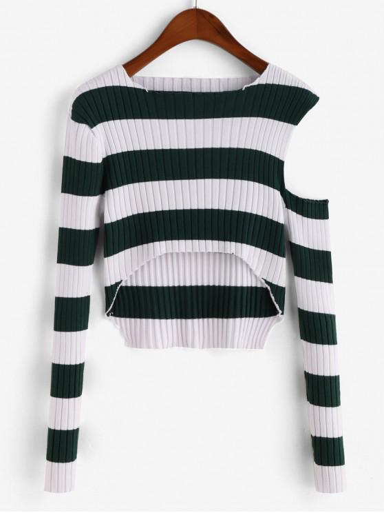 fancy Striped Ribbed Open Shoulder Cropped Sweater - PINE GREEN M