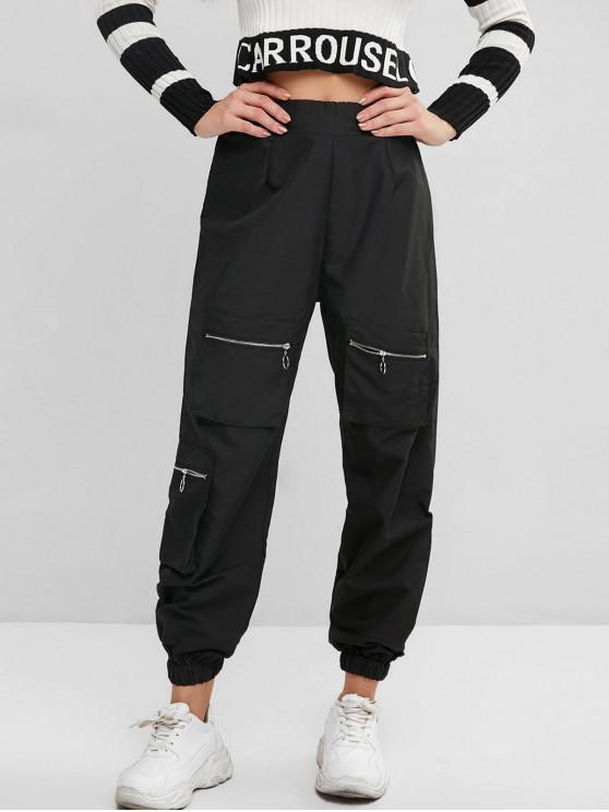 ladies Pull Ring Zip Pocket High Rise Jogger Pants - BLACK S