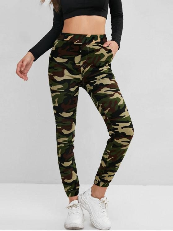 chic High Waisted Camo Pocket Jogger Pants - WOODLAND CAMOUFLAGE L