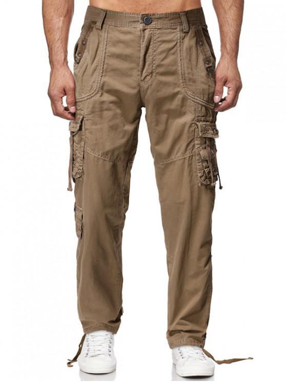 Los pantalones sólidos rectos largos Multi Flap bolsillo cargo - Caqui 40