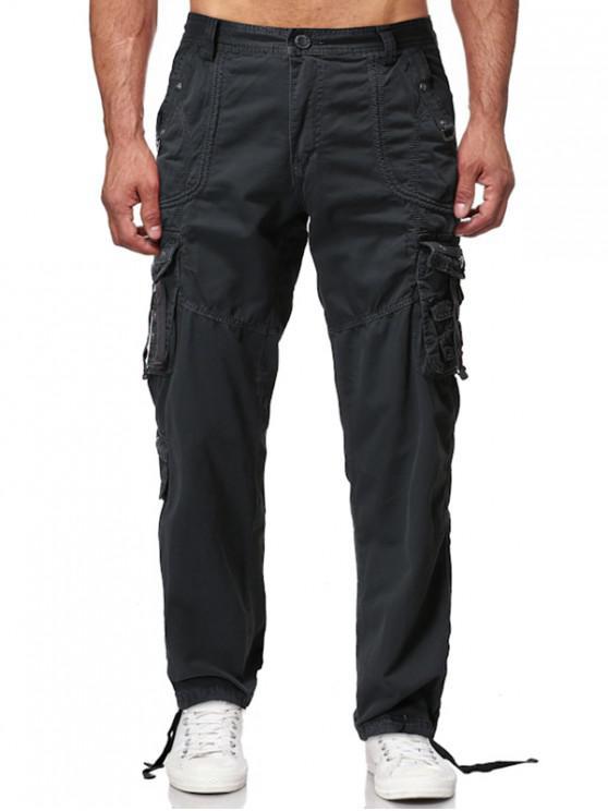 women Long Straight Solid Multi Flap Pocket Cargo Pants - DARK GRAY 40