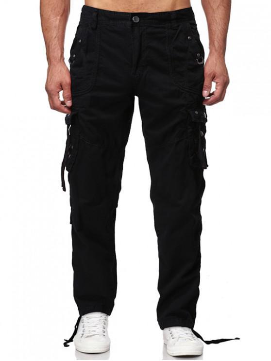 Los pantalones sólidos rectos largos Multi Flap bolsillo cargo - Negro 36