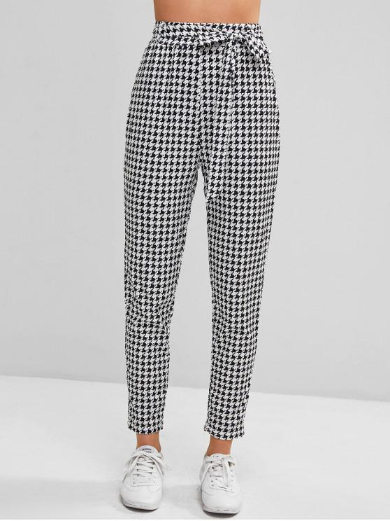 lady Houndstooth High Waisted Belted Pencil Pants - MULTI M