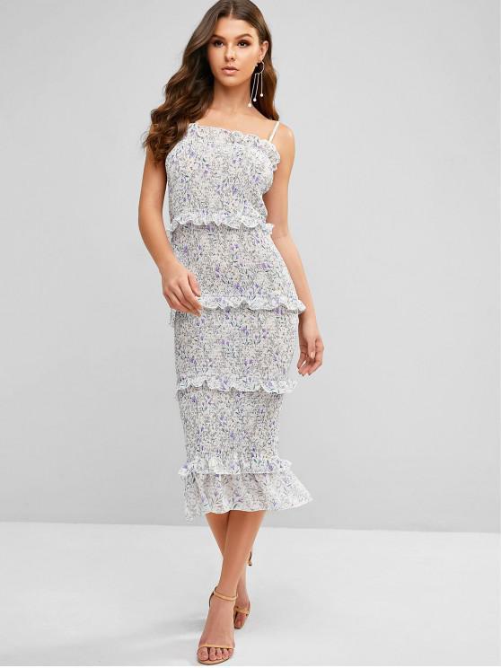 unique Ruffle Ditsy Print Bodycon Smocked Dress - MULTI-A L