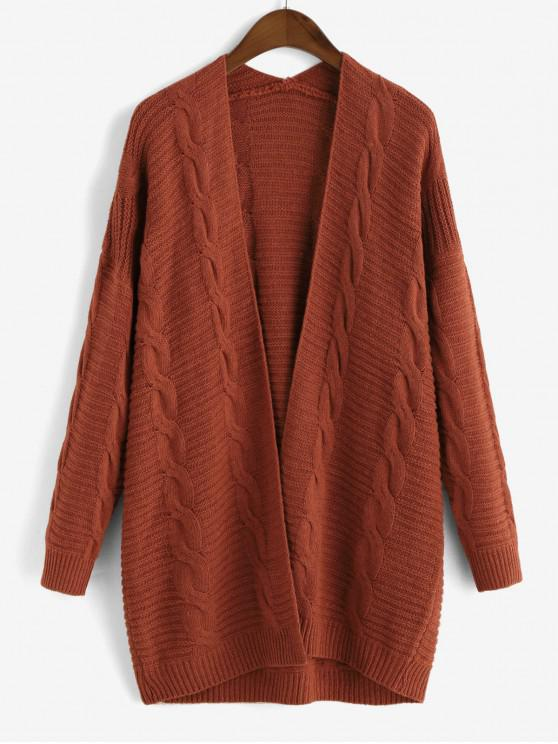 hot Cable Knit Open Front Chunky Cardigan - CHESTNUT RED XL
