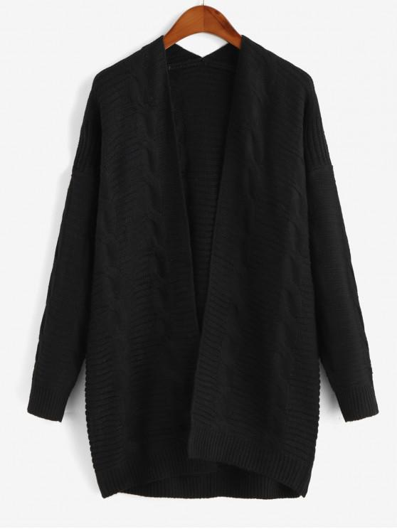 fancy Cable Knit Open Front Chunky Cardigan - BLACK S