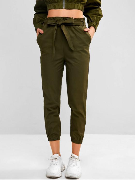 جيب مربوط Paperbag الخصر عداء ببطء سروال - التمويه الأخضر S