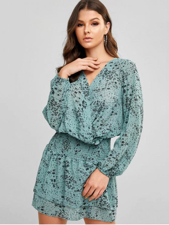 outfits Printed Shirred Chiffon Surplice Dress - PALE BLUE LILY L