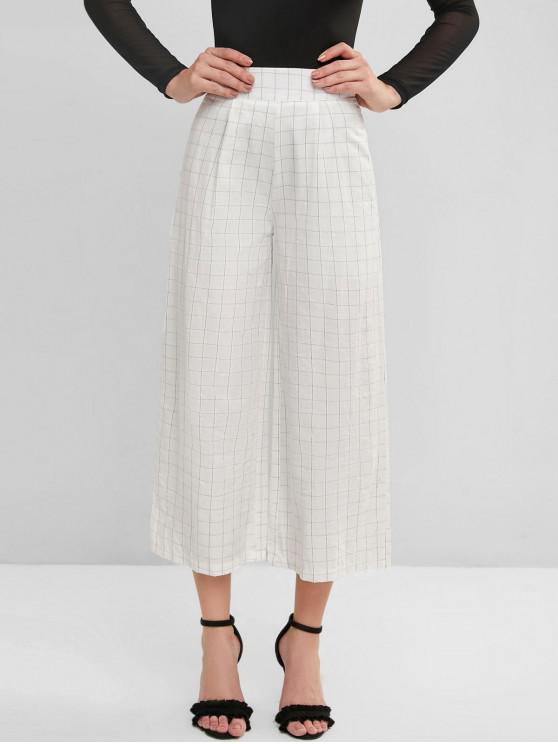 trendy Plaid Capri Wide Leg Palazzo Pants - WHITE S