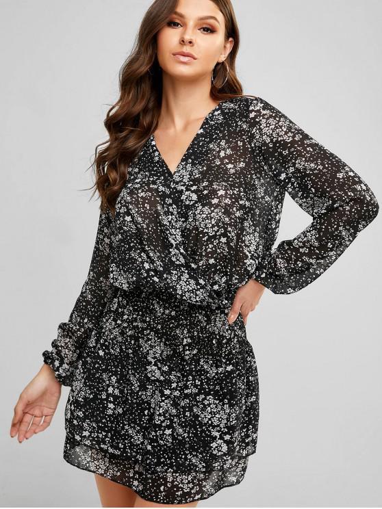 affordable Printed Shirred Chiffon Surplice Dress - BLACK XL