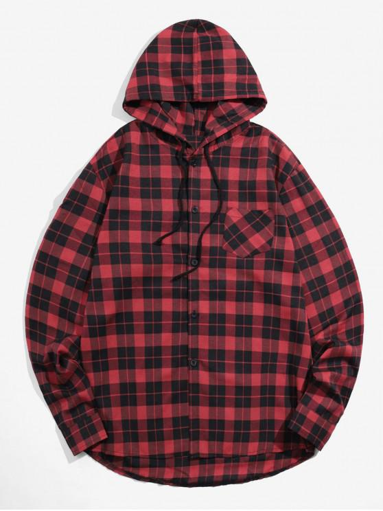 unique Plaid Printed Long Sleeves Hooded Shirt - RED L