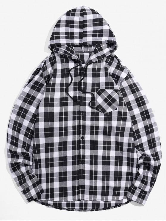 buy Plaid Printed Long Sleeves Hooded Shirt - BLACK S