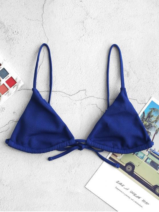ZAFUL acanalado Bralette cadena superior del bikini - Azul Marino L