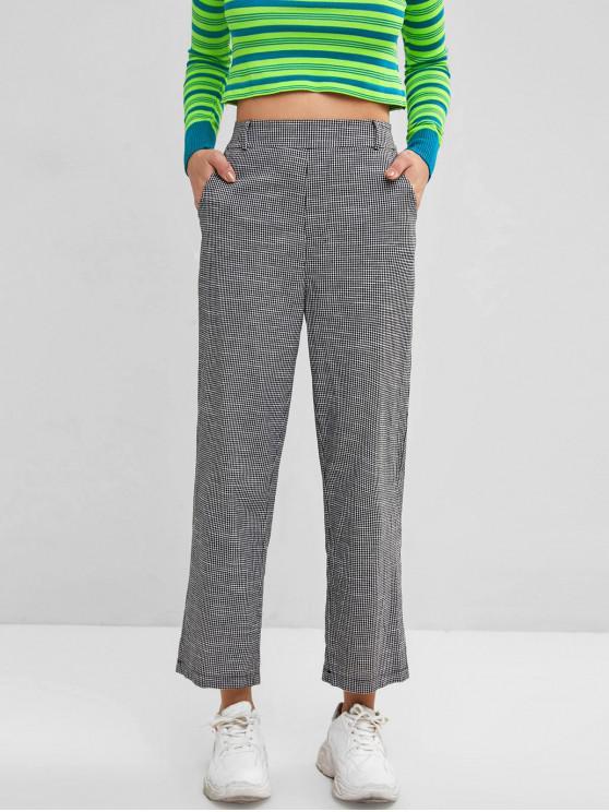 affordable Gingham Pocket High Rise Straight Pants - BLACK L