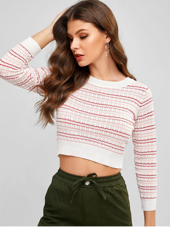 womens Crew Neck Striped Pointelle Knit Sweater - MULTI-A ONE SIZE