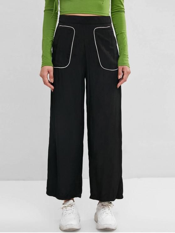 outfit Binding Pocket Wide Leg Palazzo Pants - BLACK L